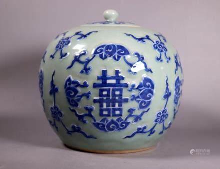 Lg Chinese 19 C Blue White Celadon Porcelain Jar