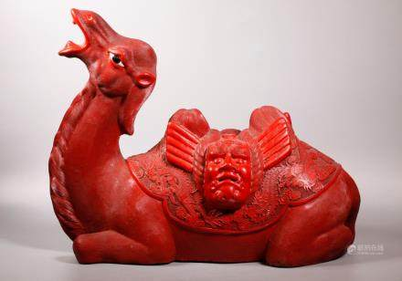 Chinese Seated Cinnabar Lacquer Bactrian Camel