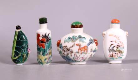 4 Chinese 19 C Enameled Porcelain Snuff Bottles