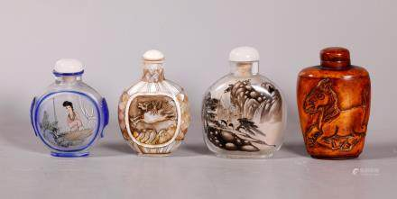 Chinese Inside Painted Snuff Bottle & 3 Others
