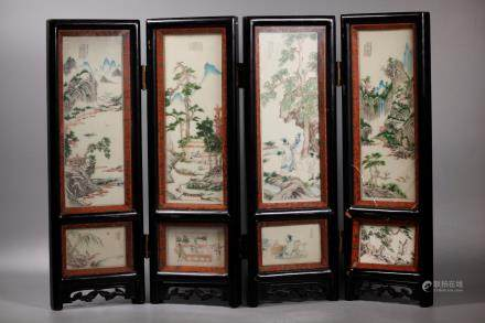 Chinese 4 Panel Miniature-Incised 4-Seasons Screen