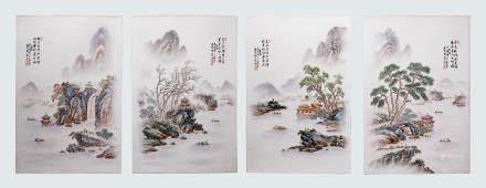 4 Chinese Four Seasons Landscape Porcelain Plaques