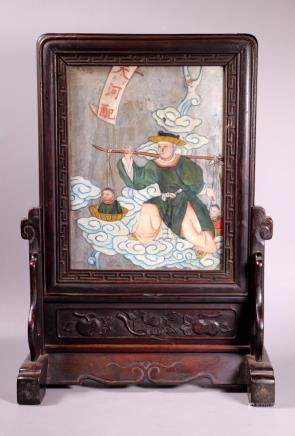 Chinese Qing Dynasty Hardwood Table Screen & Stand