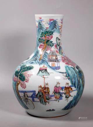 Chinese 19 C Immortals Enameled Porcelain Vase