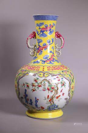 Chinese Yellow Ground Dragon Porcelain Vase