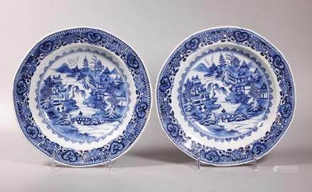 Pair Chinese 18 C Blue & White Porcelain Plates
