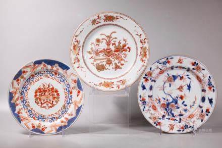 3 Chinese Kangxi Porcelain Plates; Rare Armorial