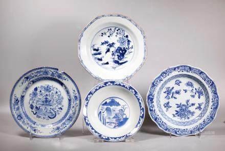 3 Chinese 18C Blue & White Porcelain Plates 1 Bowl