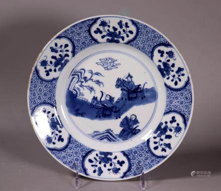 Chinese Kangxi Blue & White Porcelain Hunter Plate