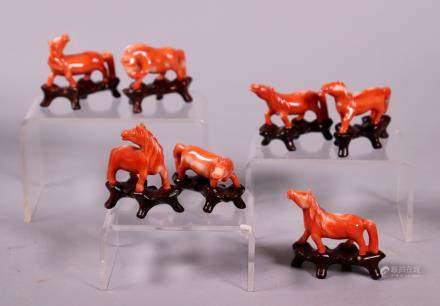 7 Chinese Carved Coral Miniature Horses; 64.5G