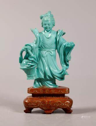 Chinese Carved Clear Turquoise Lady with Peach