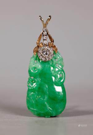 GIA Certified Natural Jadeite Qing Dynasty Pendant