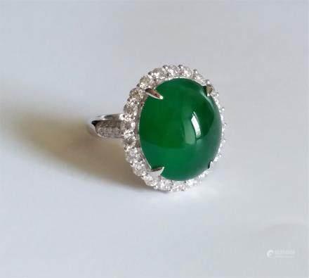 """ Old Mine"" Emerald Natural Jadeite Diamond Ring"