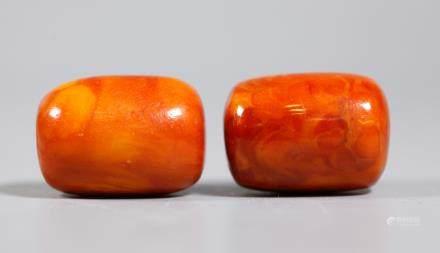 2 Butterscotch Amber Beads; Total Weight 29.5G