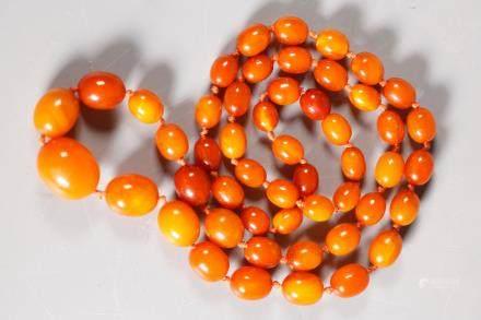 Antique Butterscotch Amber Bead Necklace; 46.5G