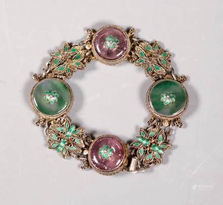 Chinese Tourmaline & Jadeite Silver Link Bracelet