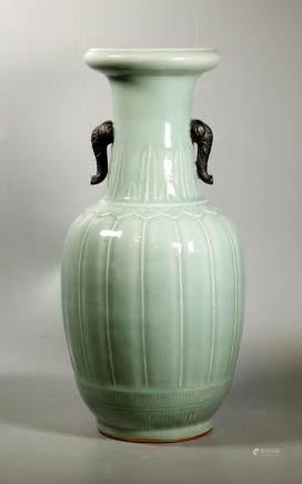 Chinese 19 C Carved Celadon Porcelain Vase