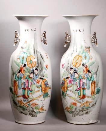 Lg Pr Chinese Republic Enameled Porcelain Vases