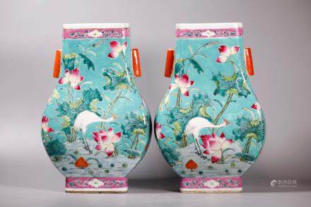 Pair Chinese Famille Rose Porcelain Hu Vases