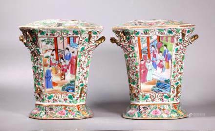 Fine Pair Chinese Rose Mandarin Porcelain Planters