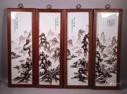 4 Chinese Porcelain Landscape Plaques