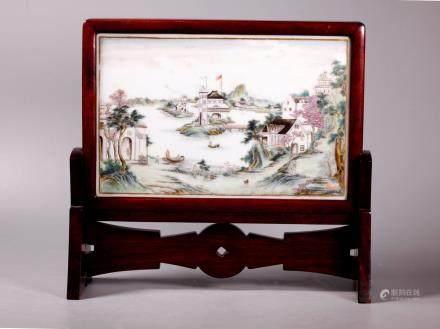 Chinese Famille Rose Porcelain Landscape Plaque