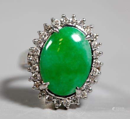 Chinese Natural Jadeite Cabochon Diamond 14K Ring