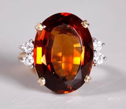 Vintage Oval Brilliant Citrine Diamond 14K Ring