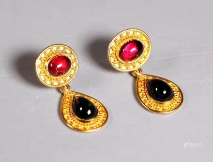 Pink & Green Tourmaline Cabochon 22K Gold Earrings