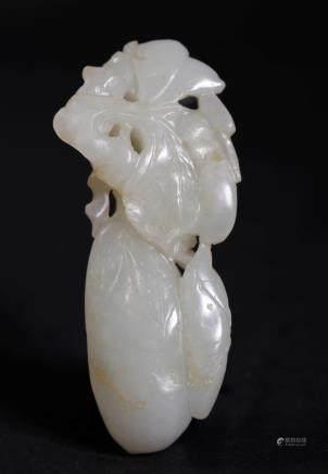 Chinese 18/19 C White Jade Melon & Leaf Toggle