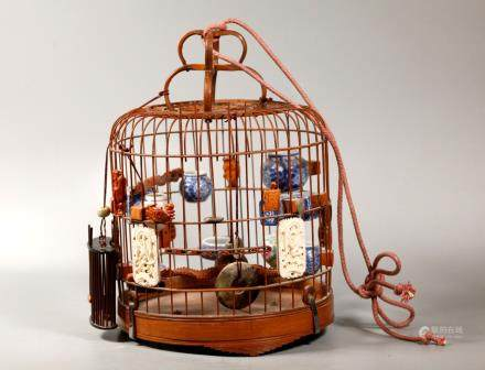 Chinese Early 20 C Bamboo Bird Cage & Feeders