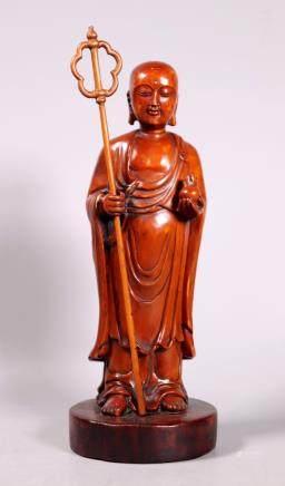 19 C Chinese Carved Boxwood Bodhisattva Dizang