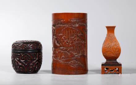 Chinese 18 C Bamboo Incense Holder Bitong Tixi Box