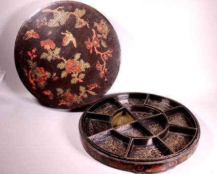Chinese Qing Dynasty Black Lacquer Dinner Set