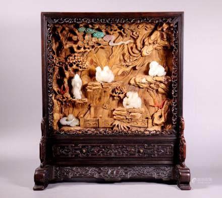 Chinese 5 Jade Carvings Hardwood Display Screen