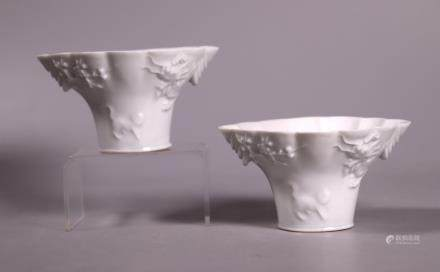 Pr Chinese Qing Blanc de Chine Porcelain Horn Cups
