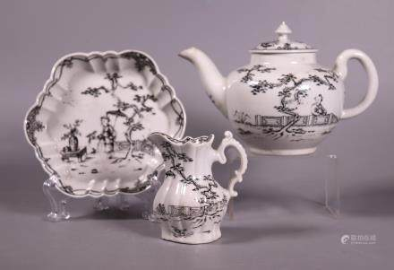 English 18 C Chinoiserie Teapot, Tray, Creamer
