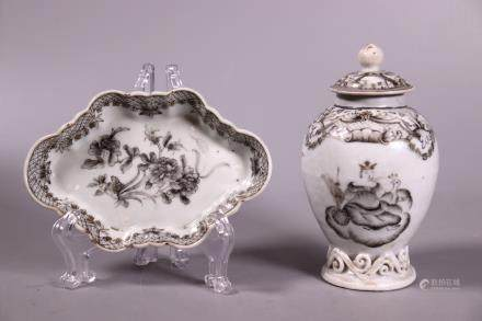 Chinese 18C Grisaille Porcelain Tea Jar Spoon Tray