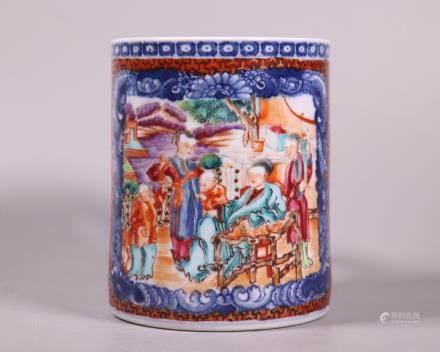 Chinese 18 C Mandarin Figure Porcelain Large Mug