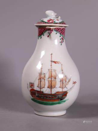 Chinese 18 C Porcelain Ship & English Flag Creamer