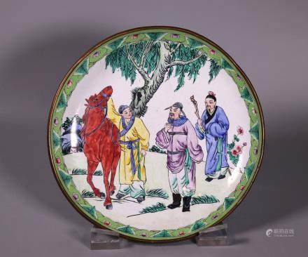 Chinese Canton Enamel on Bronze Figural Plate