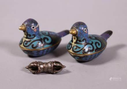 Pr Chinese Cloisonne & Gilt Bird Boxes; Iron Vajra