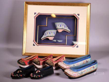 Chinese Qing Lily Foot Shoes, 7 Embroidered Shoes