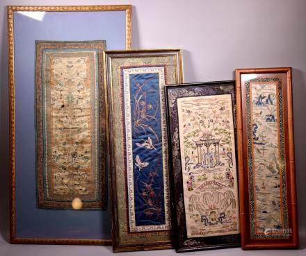 4 Chinese Qing Dynasty Silk Embroideries
