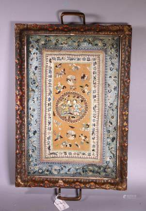 Chinese Antique Silk Embroidery inside Tray