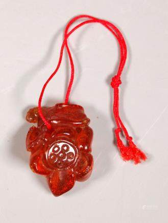 Chinese Qing Dnasty Carved Amber Lotus Pod Toggle