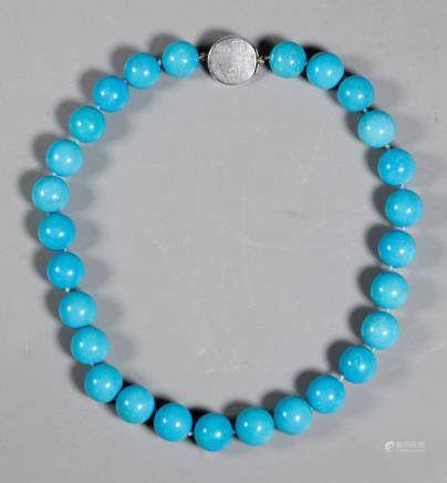 Turquoise Bead Necklace Sterling Closure; 97.5G
