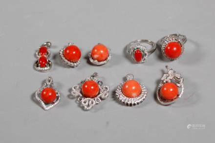 Chinese Corals in Silver: 7 Pendants 2 Rings; 46G