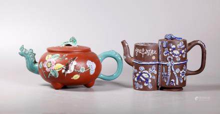 -2 Chinese Qing Dynasty .Enameled Yixing Teapots