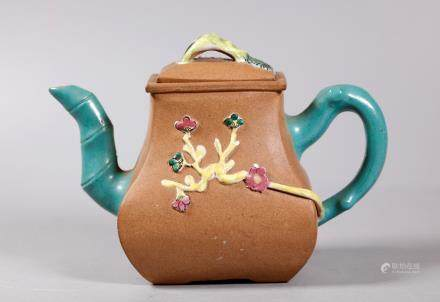 Chinese Qing Enameled Light Clay Yixing Teapot